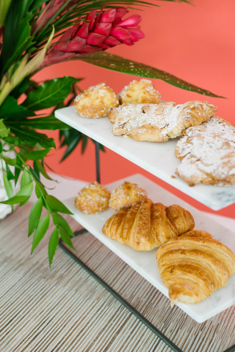 pastries on 2-tiered serving marble board