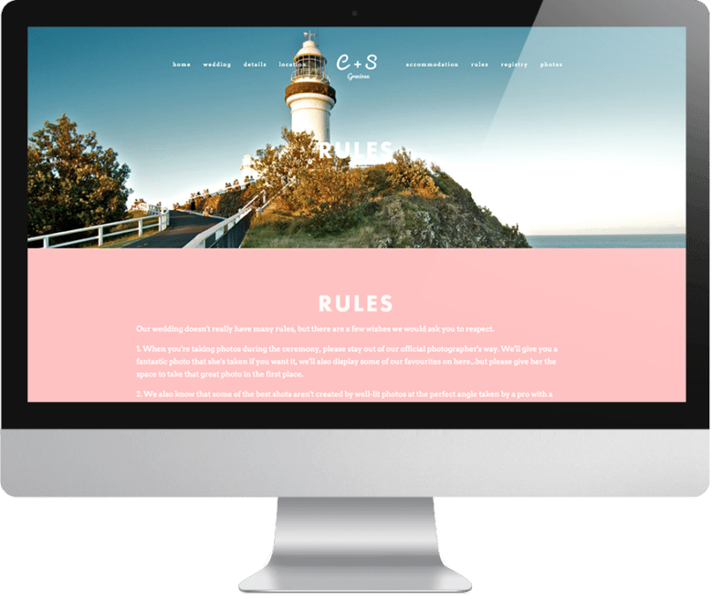 """Wedding website """"rules"""" page with image of lighthouse and path on computer monitor"""