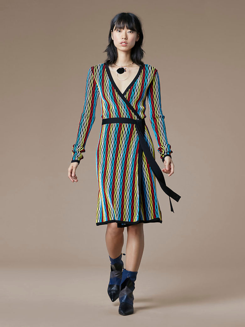red, blue, yellow, white Long Sleeve Knit Wrap Dress