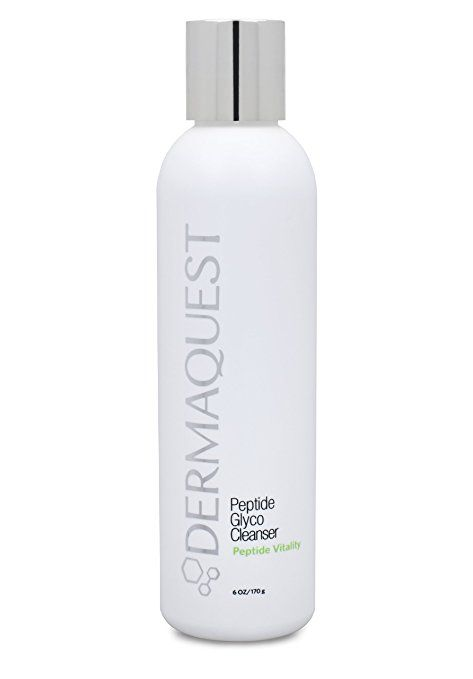white bottle with silver cap of Dermaquest peptide glyco cleanser