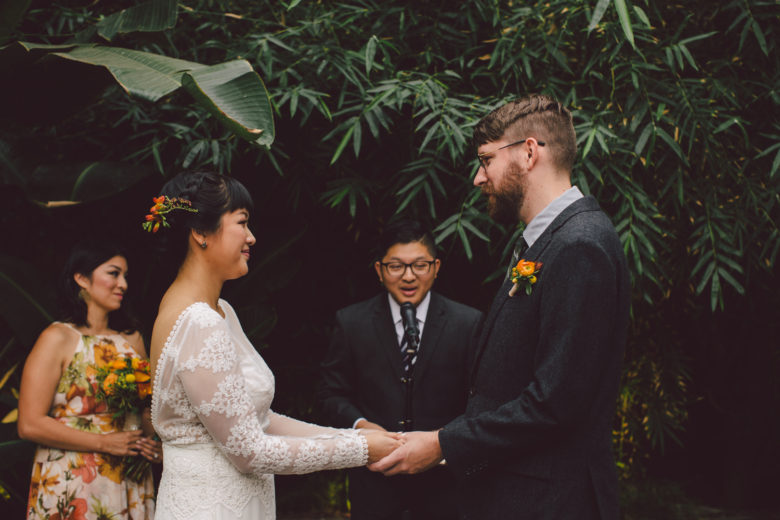 Closeup of a bride and groom during their ceremony