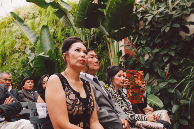 closeup of the mother of the bride during the ceremony
