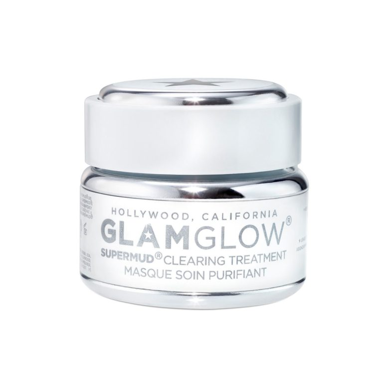 White jar with silver lid of Glamglow supermud clearing mask treatment