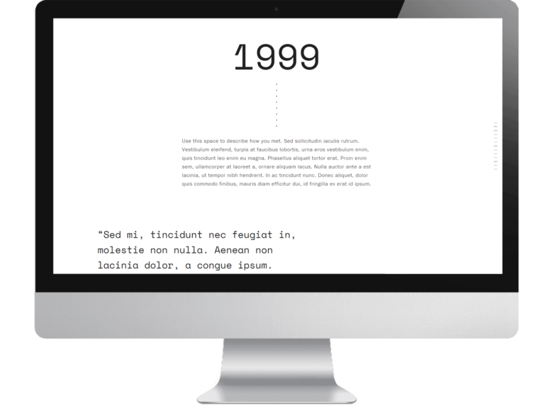 screenshot of text overlay from squarespace's new wedding website template Vow with the date 1999 and lorum ipsum text