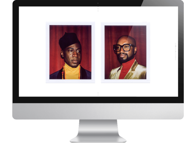screenshot of new squarespace wedding website template Vow featuring two polaroids of a black gay couple named Leon and Marc