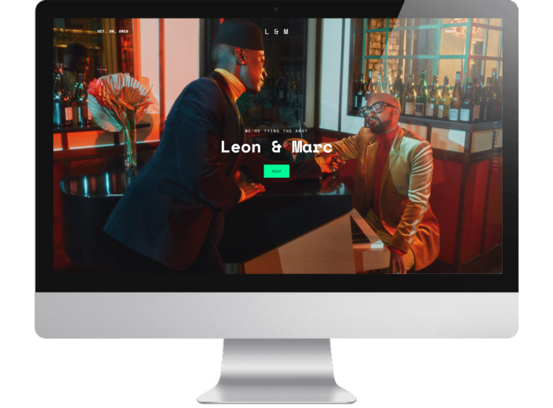 screenshot of new squarespace wedding website template Vow featuring same sex black couple named Leon and Marc