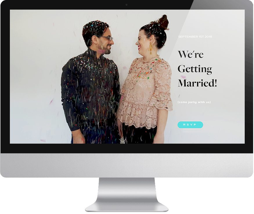 Image of Meg and David covered in falling confetti, looking at each other, smiling as background image on monitor with text that reads