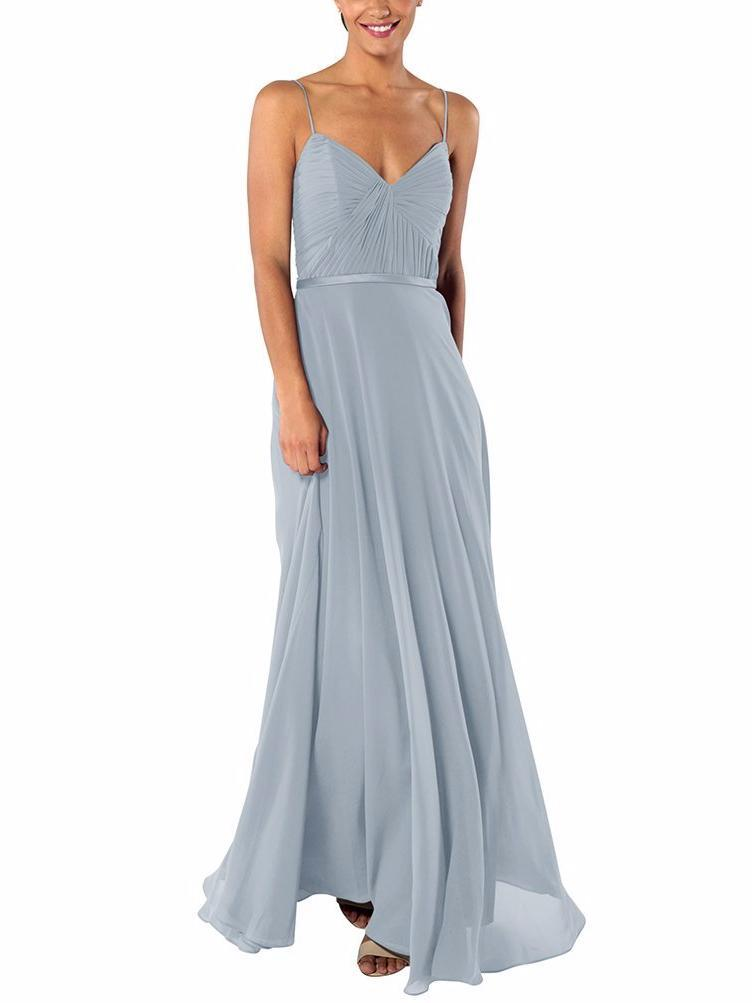 blue-grey floor-length gown with spaghetti straps