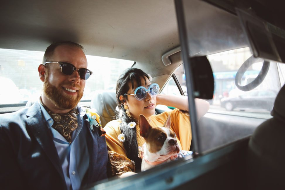 Stylishly hip couple in back seat of taxi wearing sunglasses, holding dog