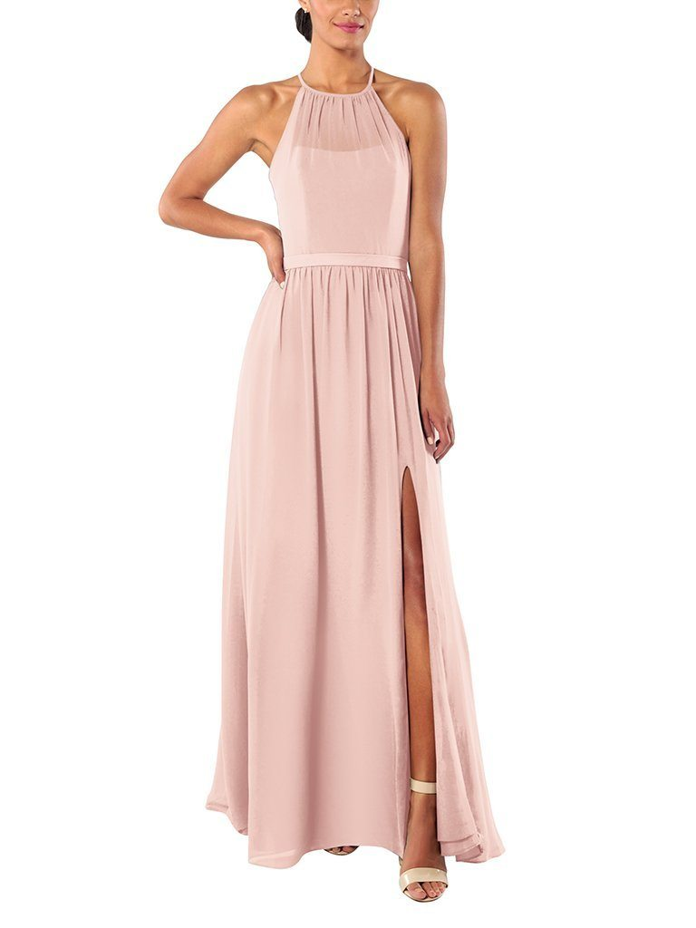 light pink halter neck full-length gown with above-knee front slit and sheer neckline