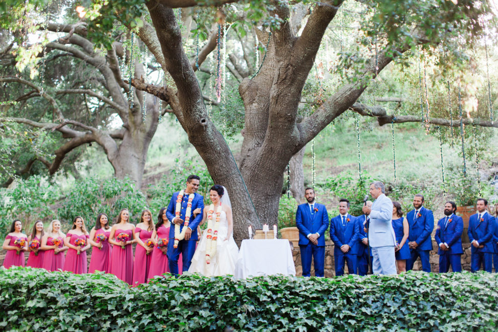 A bride and groom get married underneath a giant tree