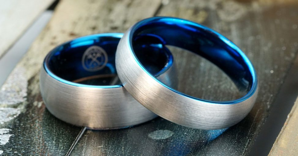 manly bands ring silver with blue insert