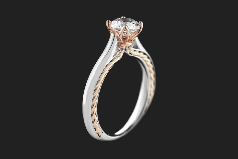 conflict free two tone diamond solitaire engagement ring