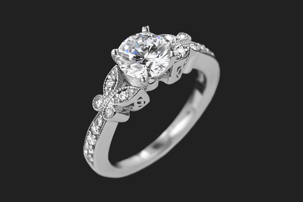 ethical diamond engagement ring with butterfly detail