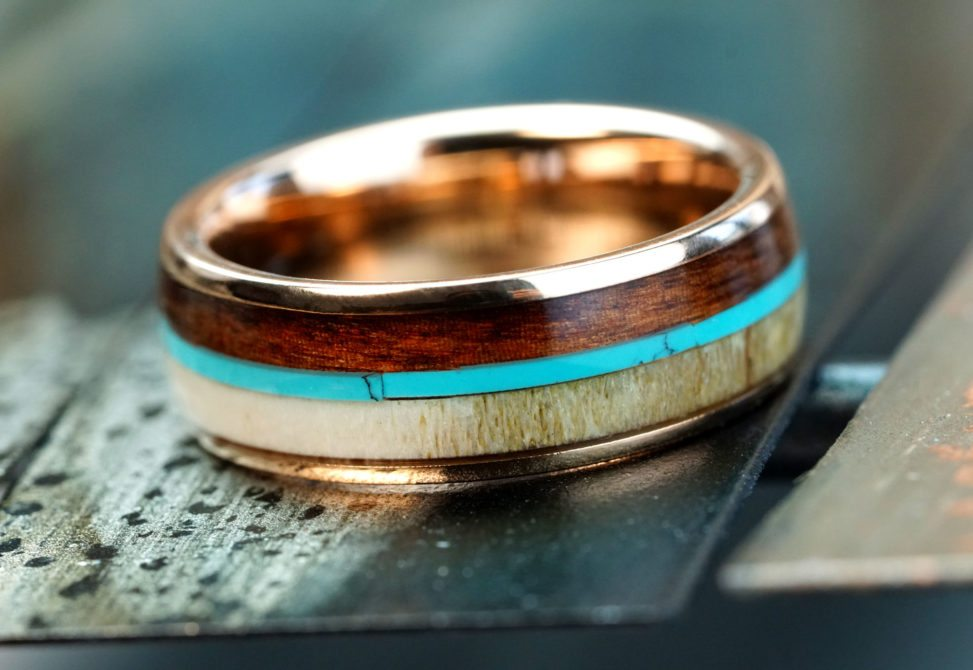 Manly Band wedding band with wood and torquoise