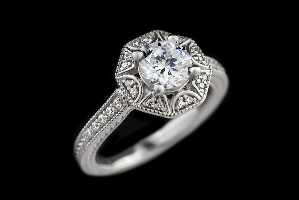 ethical art deco vintage-inspired diamond engagement ring