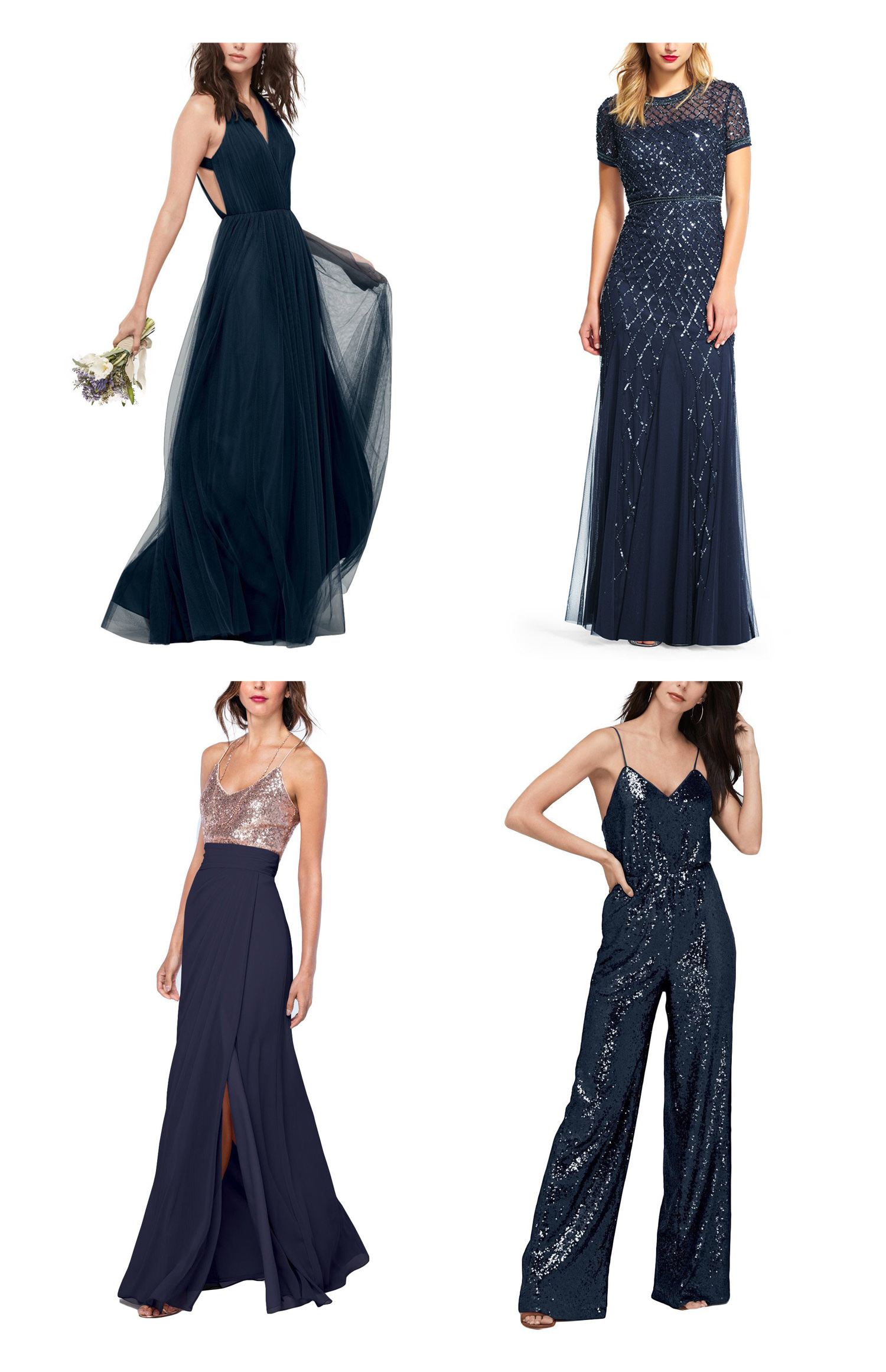 graphic featuring mismatched bridesmaid dresses in shades of navy and sequins
