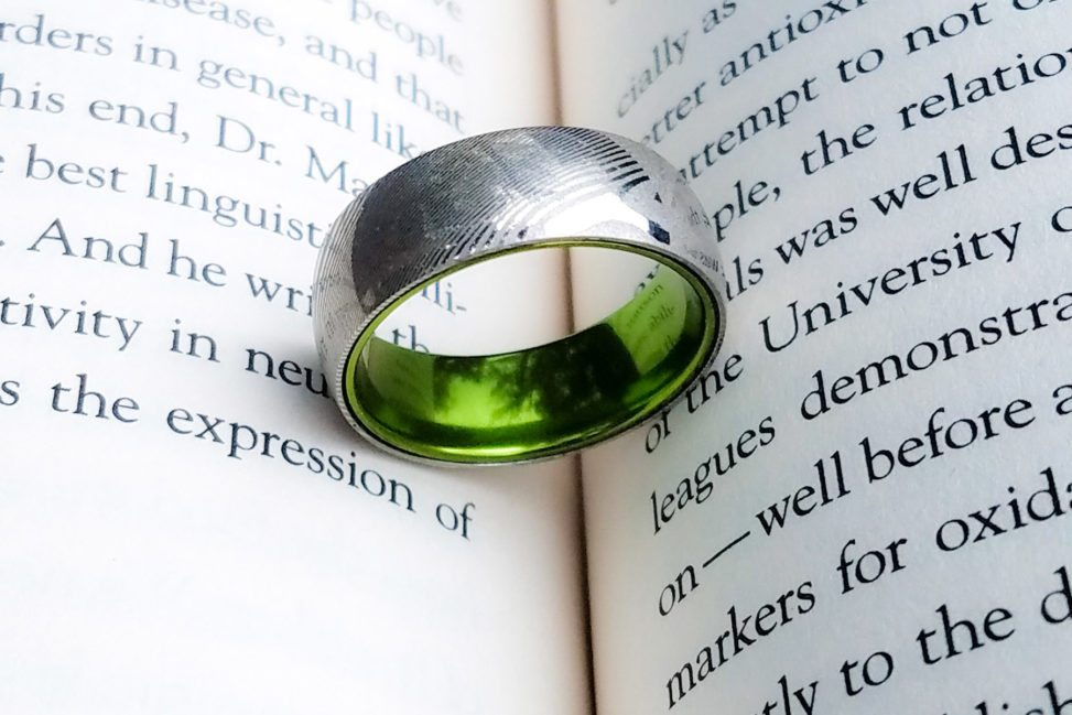 Manly Bands Green insert ring in silver