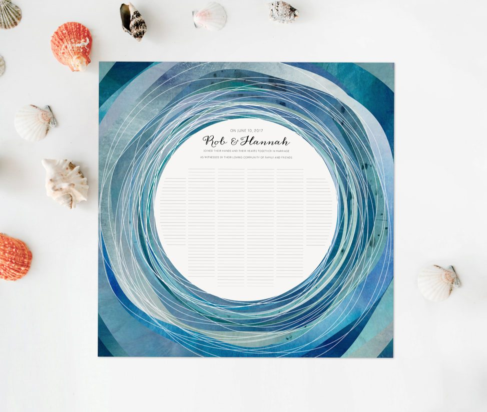 A blue circular marriage certificate for all in attendance at the couple's wedding to sign