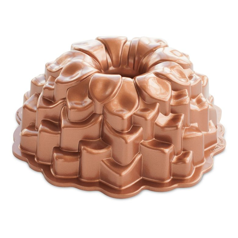 wedding gift ideas - a copper bundt pan with petals