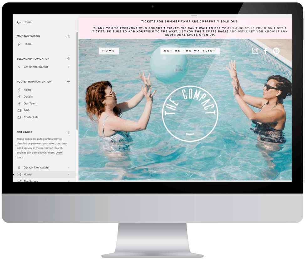 back end of a squarespace website build with a picture of two women tossing a ball in a pool