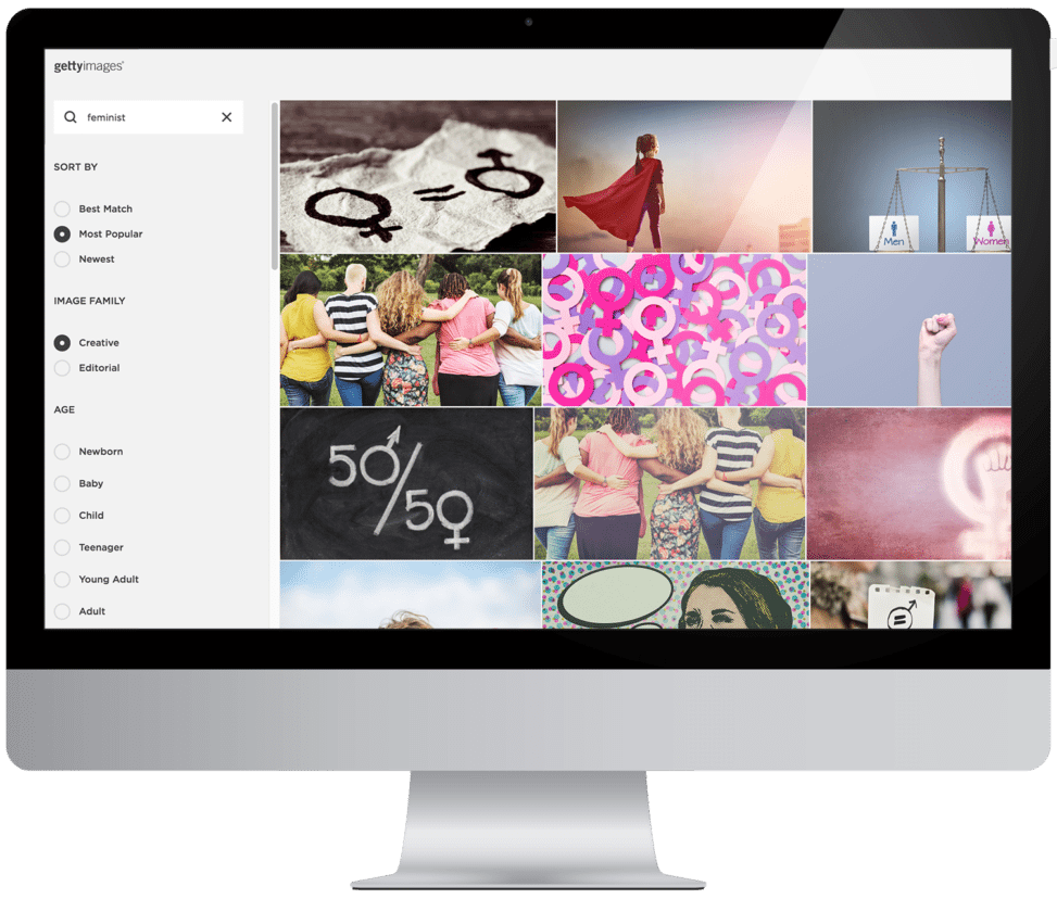 Image of a website with different gallery panels—A getty images search page through squarespace