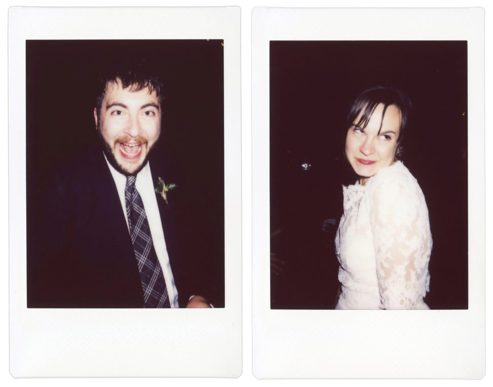 two polaroid shots side by side of a wedding couple