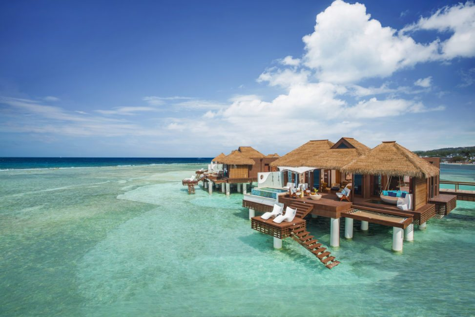 over water bungalows at a Sandals resort