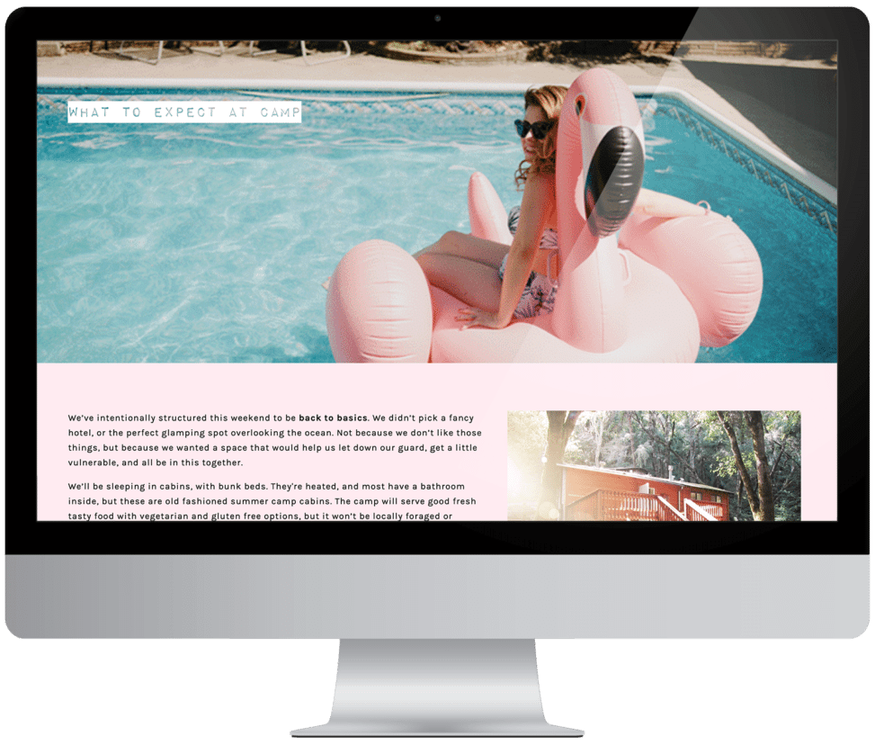 What to Expect at Camp webpage on The Compact: A woman sitting on a giant inflatable flamingo in a pool