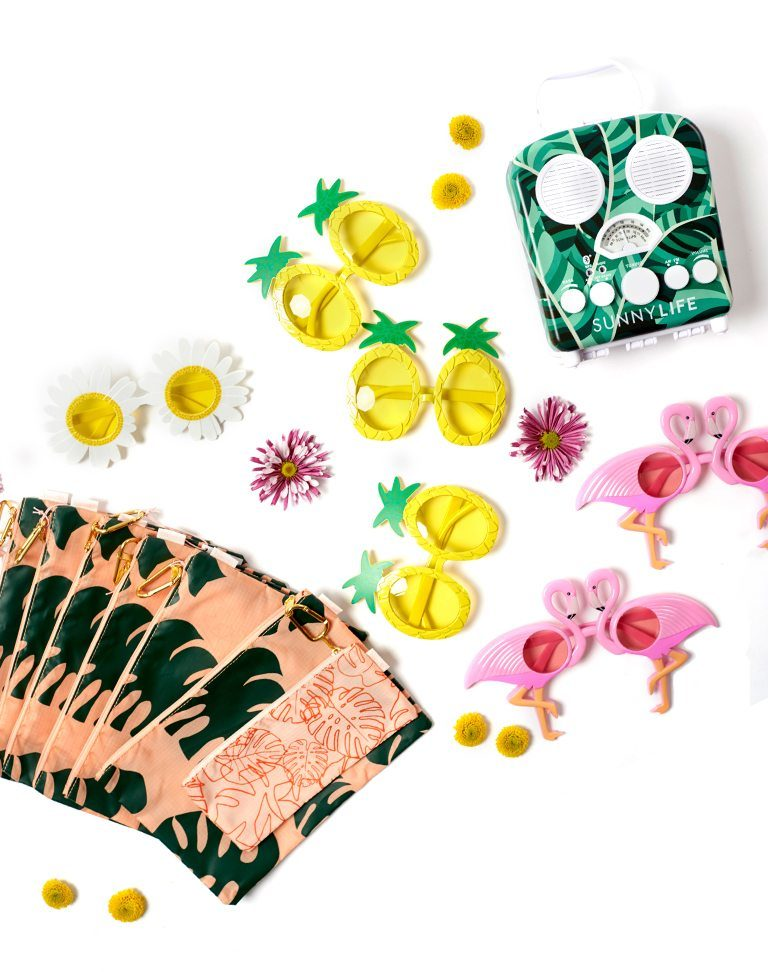 A beach party collection of items including sunglasses and more
