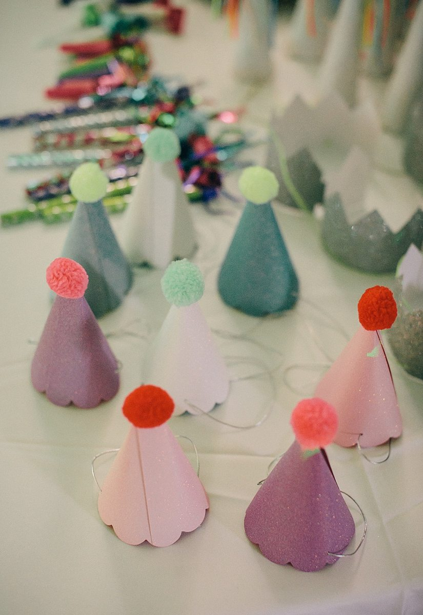 close up of tiny party hats