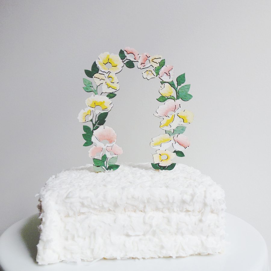 wooden flower arch cake topper