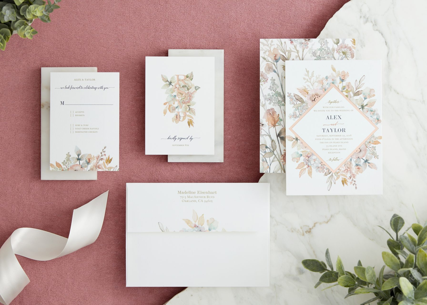 romantic pink floral save the date and invitation suite