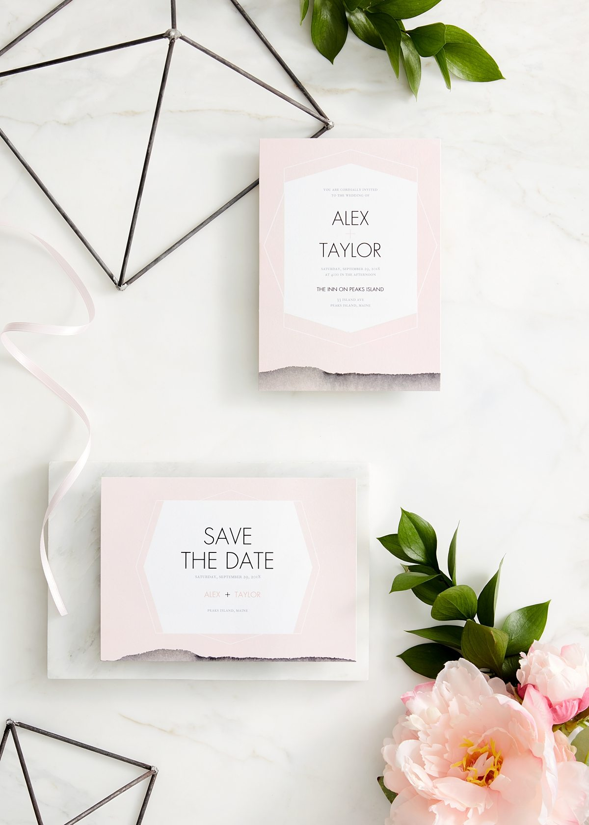 Pink save the date and invite with modern typography