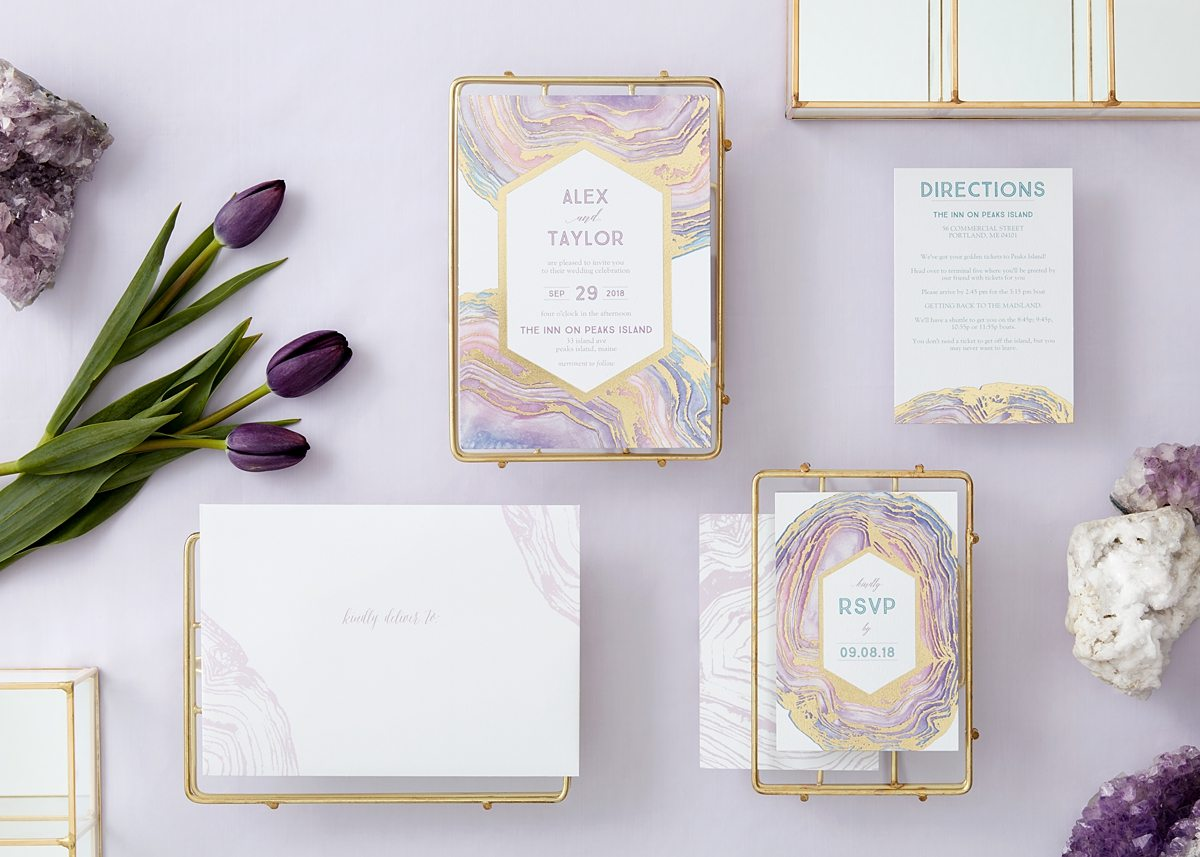 gilded agate with purples, blues and pinks invitation suite