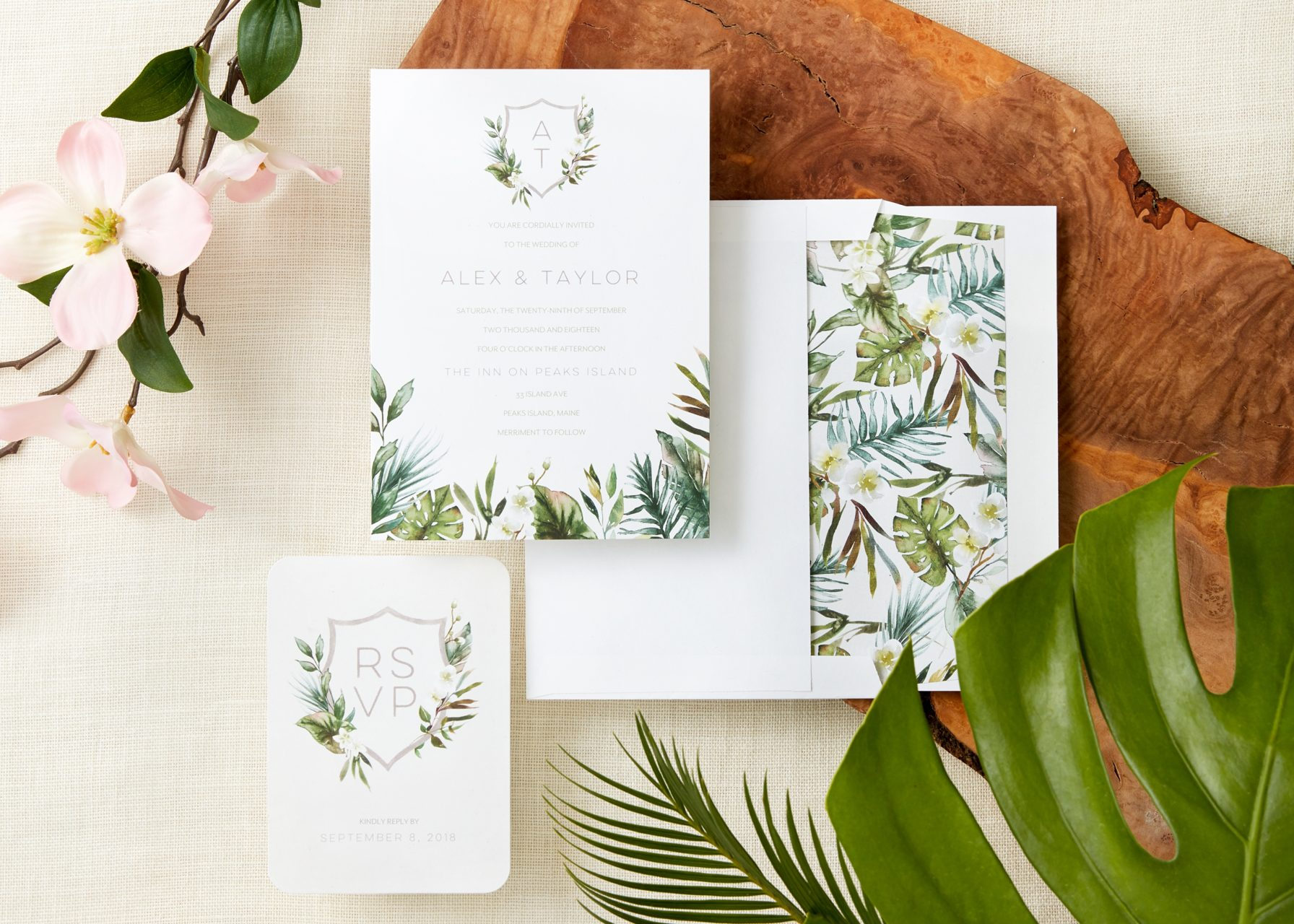 tropical foliage invitation suite