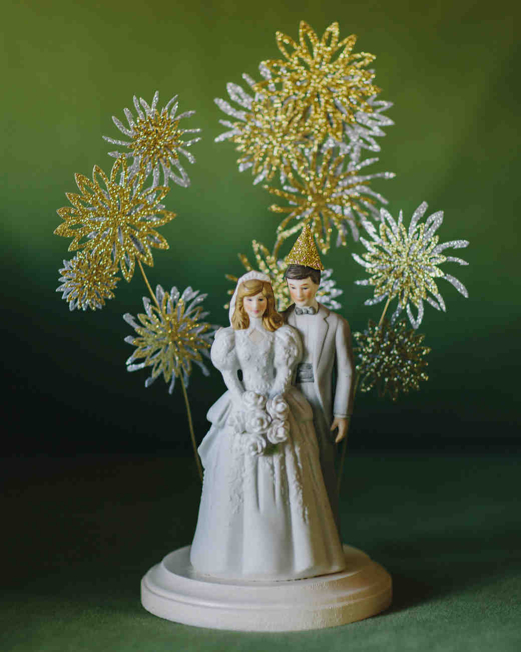 vintage couple with fireworks cake topper