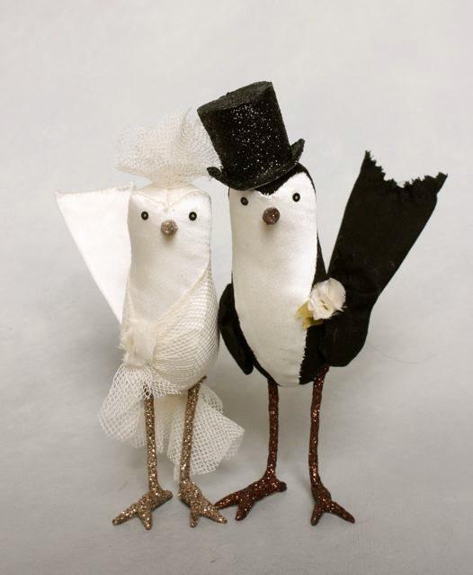 bird couple dressed in vintage clothes