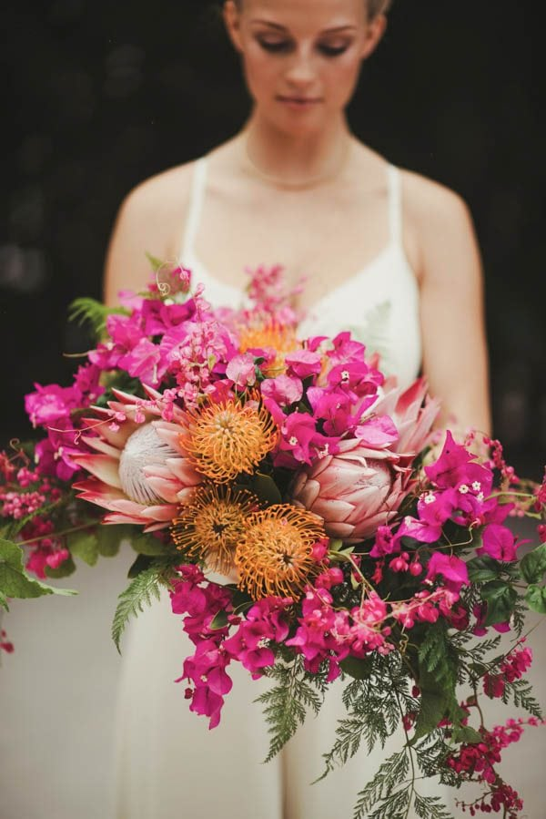 Asymetrical pink and orange cascade bouquet