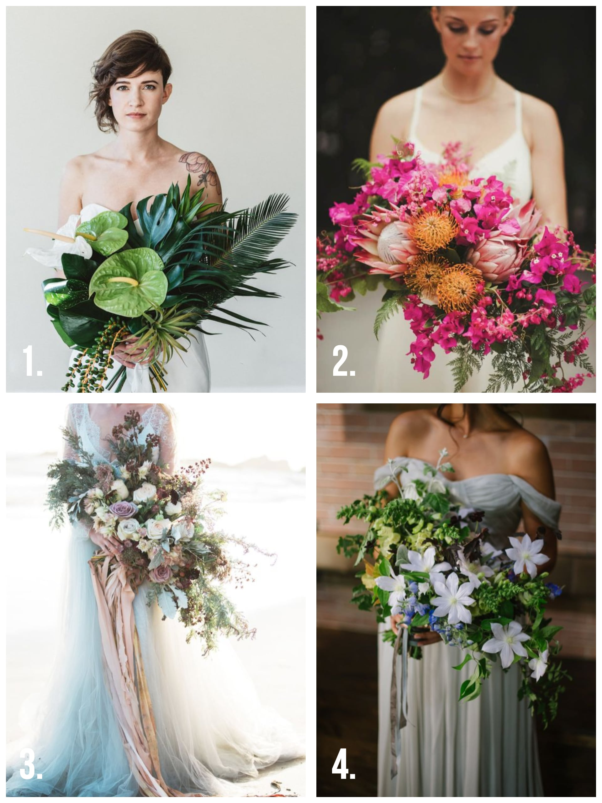 Four panel image of asymmetrical bouquets