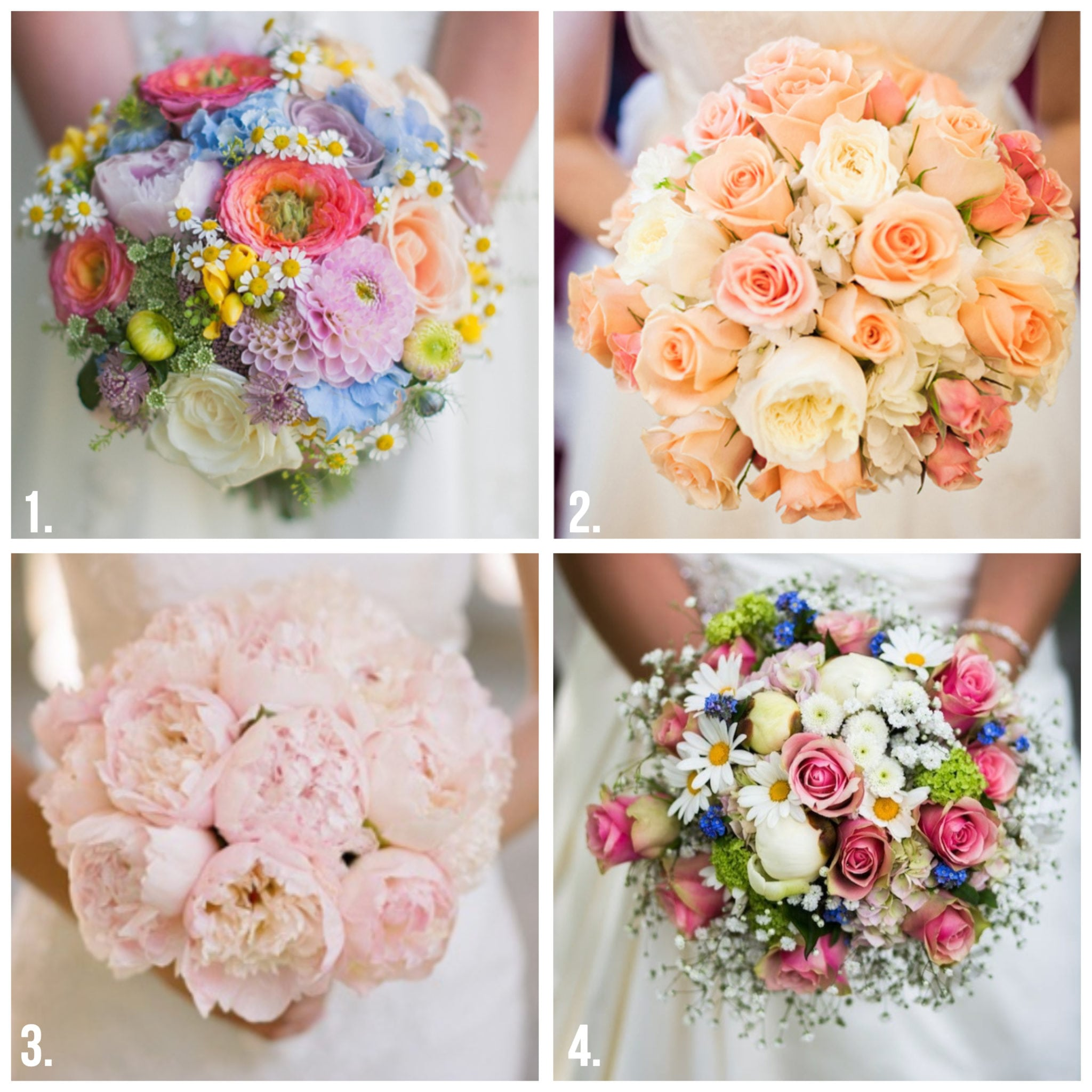 wedding bouquets - four panel image of round bouquets
