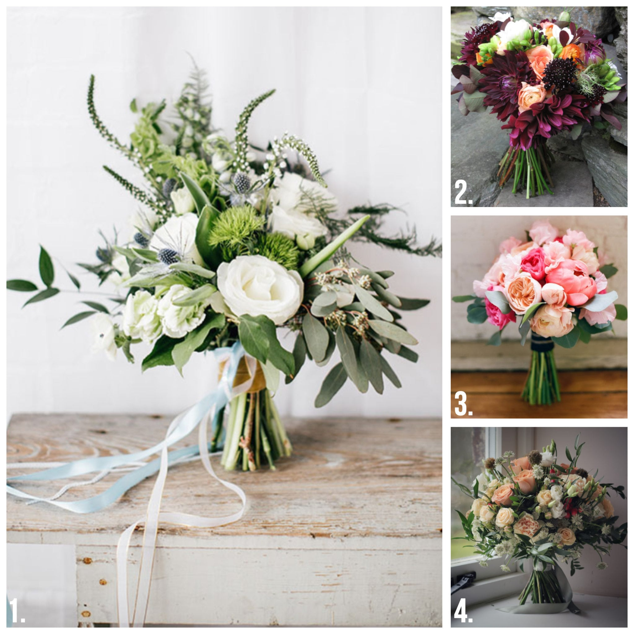 Four panel image of hand-tied bouquets