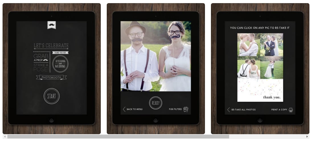 Photos of the Wedding Booth Photobooth app in an Ipad
