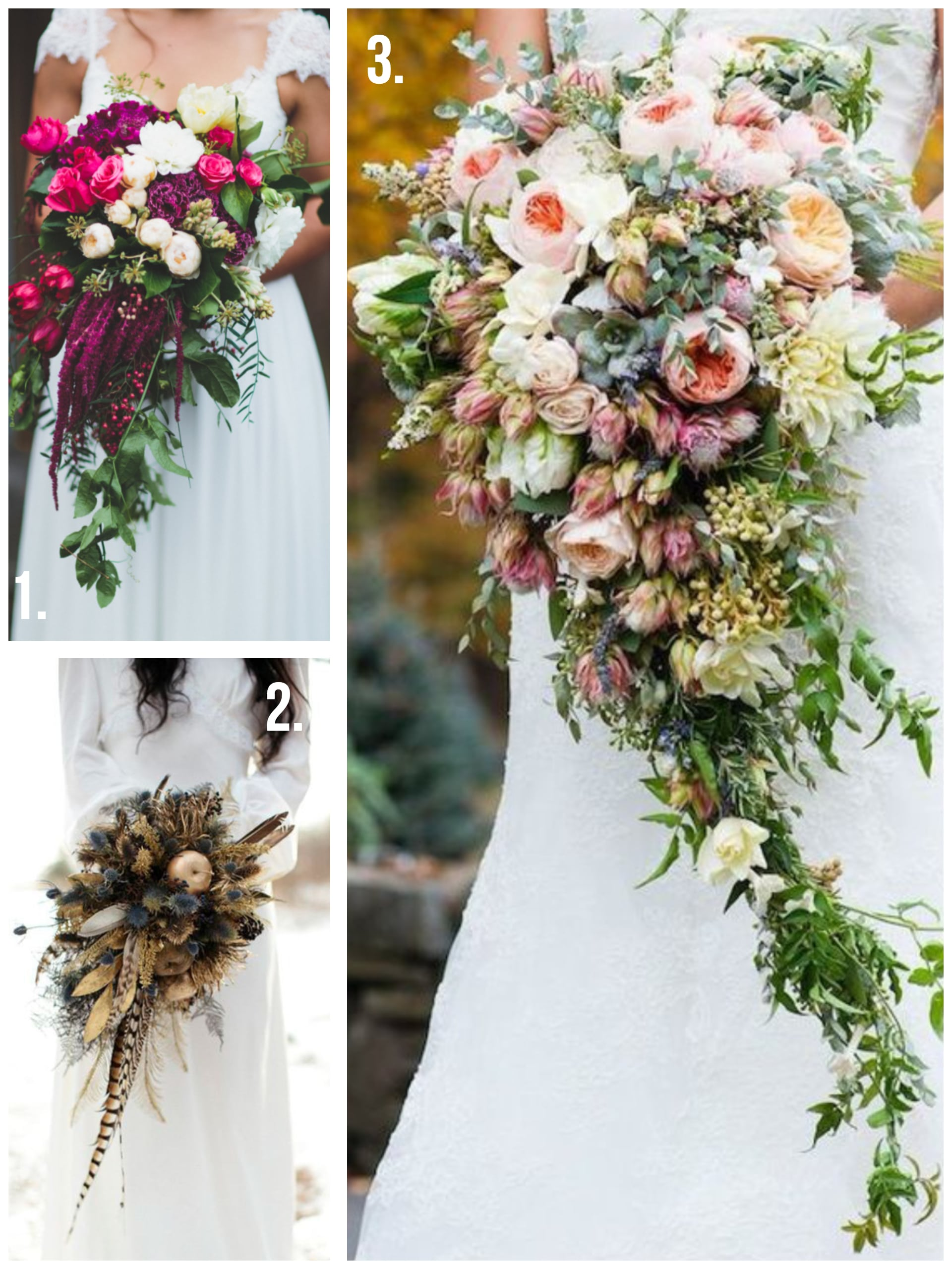 Wedding bouquets - three panel image of three different kinds of cascade bouquets